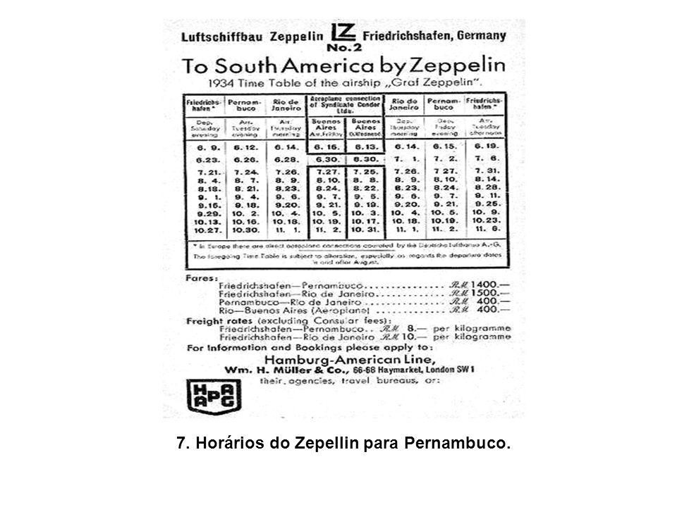 7. Horários do Zepellin para Pernambuco.