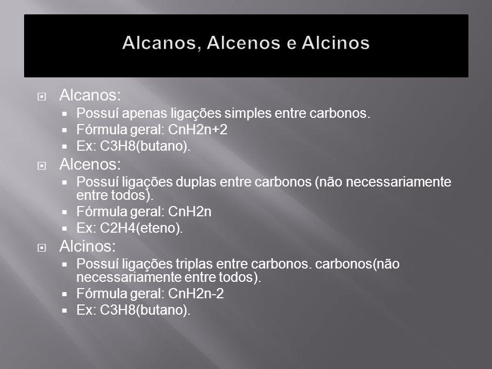 Alcanos, Alcenos e Alcinos