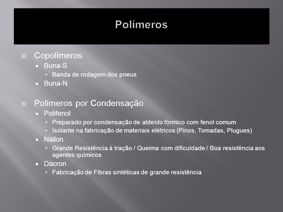 Polímeros Copolímeros Polímeros por Condensação Buna-S Buna-N
