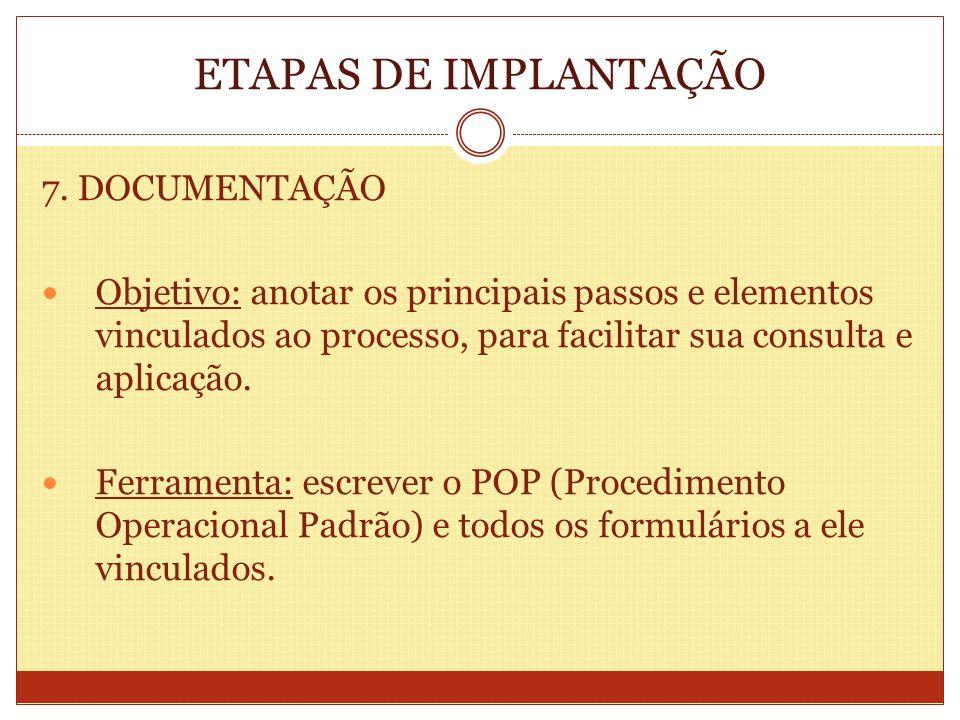 ETAPAS DE IMPLANTAÇÃO 7. DOCUMENTAÇÃO