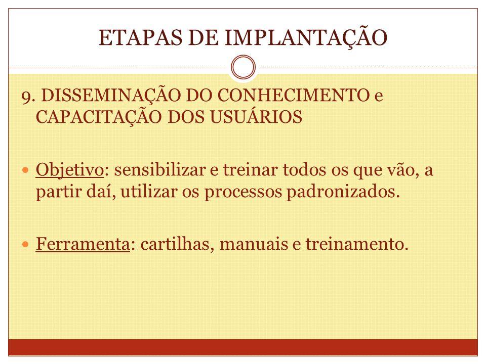 ETAPAS DE IMPLANTAÇÃO 9. DISSEMINAÇÃO DO CONHECIMENTO e CAPACITAÇÃO DOS USUÁRIOS.