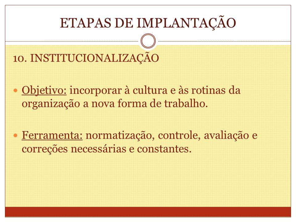 ETAPAS DE IMPLANTAÇÃO 10. INSTITUCIONALIZAÇÃO