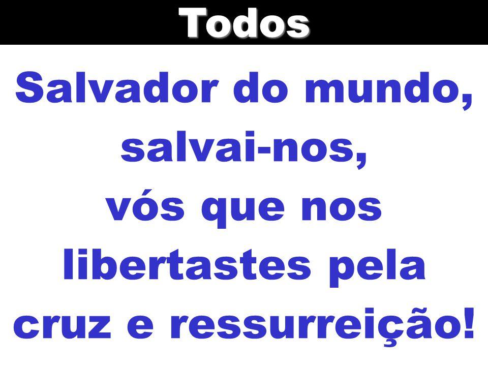 Todos Salvador do mundo, salvai-nos, vós que nos libertastes pela cruz e ressurreição!
