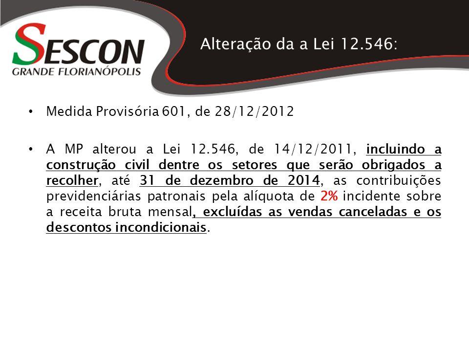 Alteração da a Lei 12.546: Medida Provisória 601, de 28/12/2012