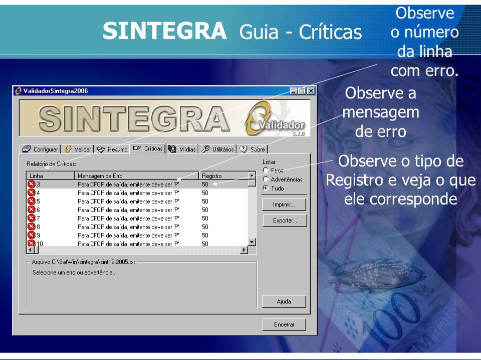 SINTEGRA Guia - Críticas