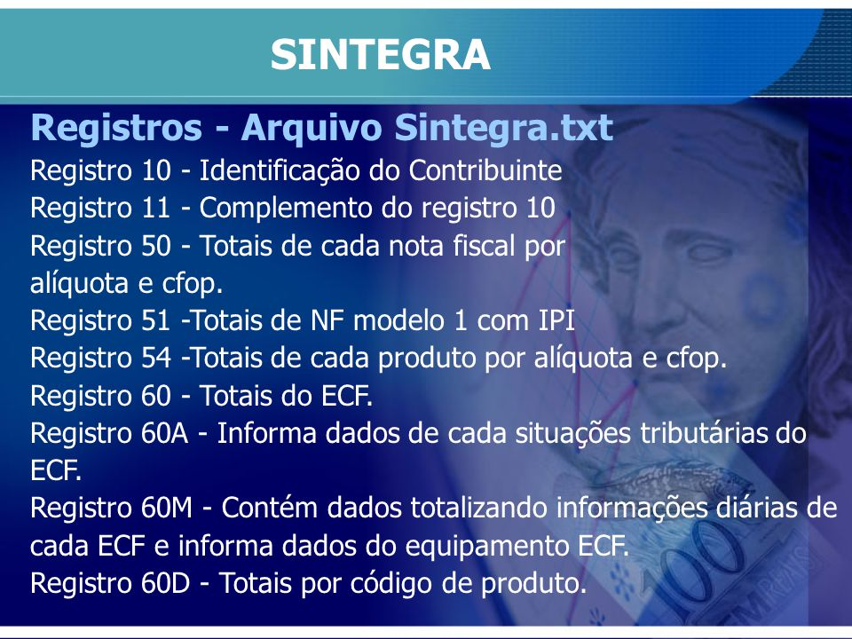 SINTEGRA Registros - Arquivo Sintegra.txt