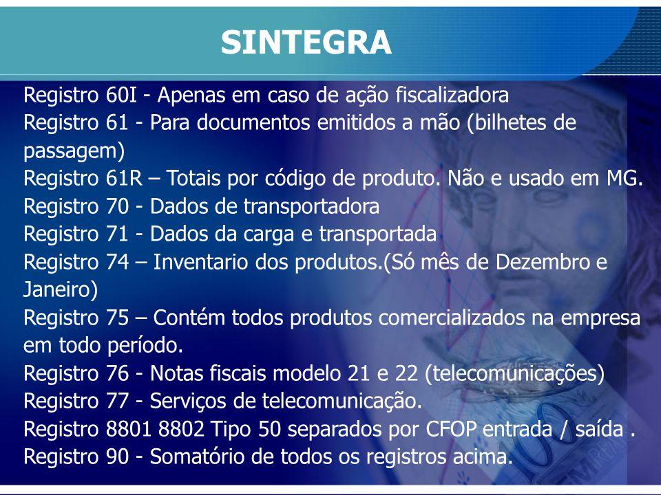 SINTEGRA Registro 60I - Apenas em caso de ação fiscalizadora