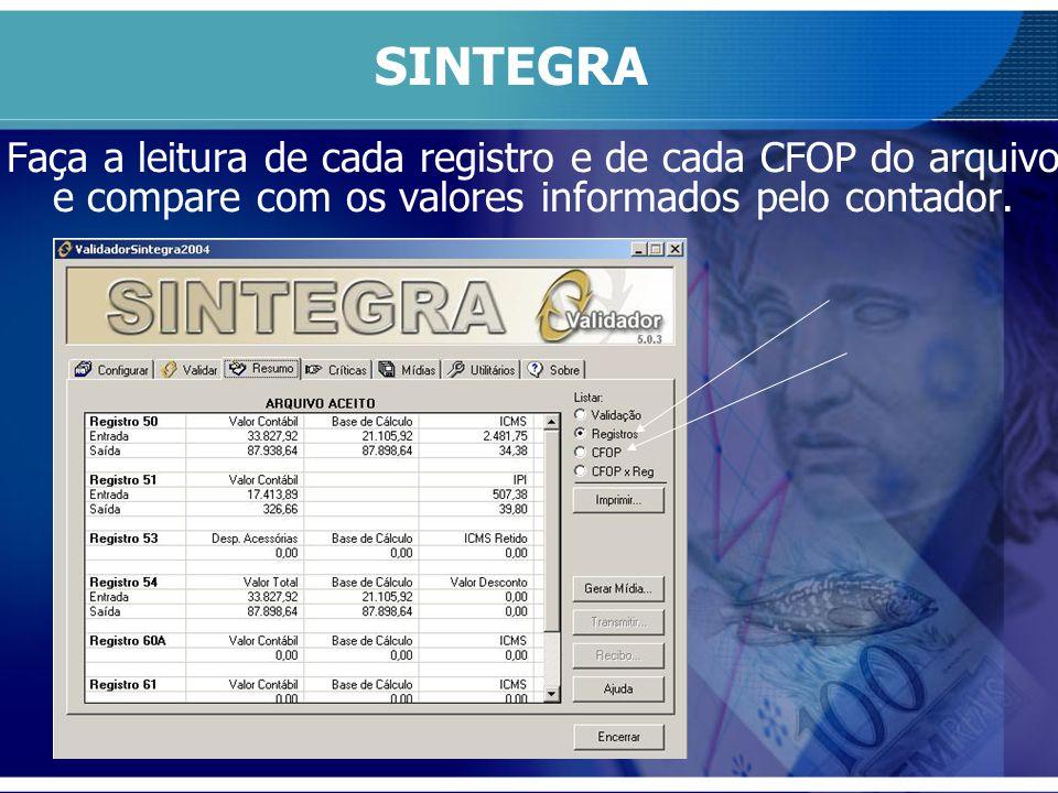 SINTEGRA Faça a leitura de cada registro e de cada CFOP do arquivo e compare com os valores informados pelo contador.
