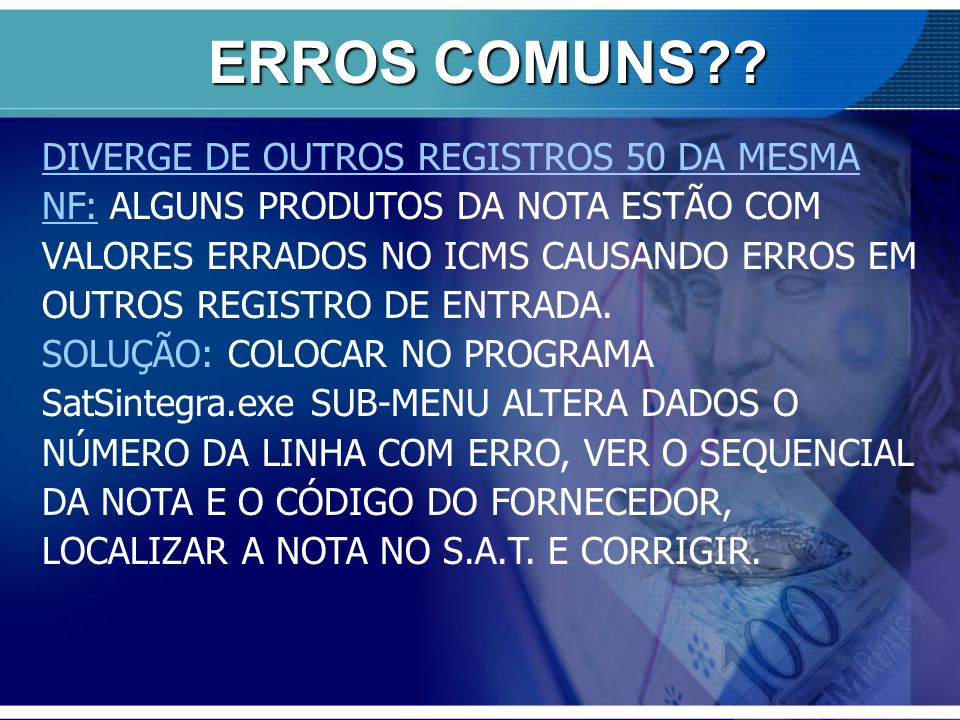 ERROS COMUNS