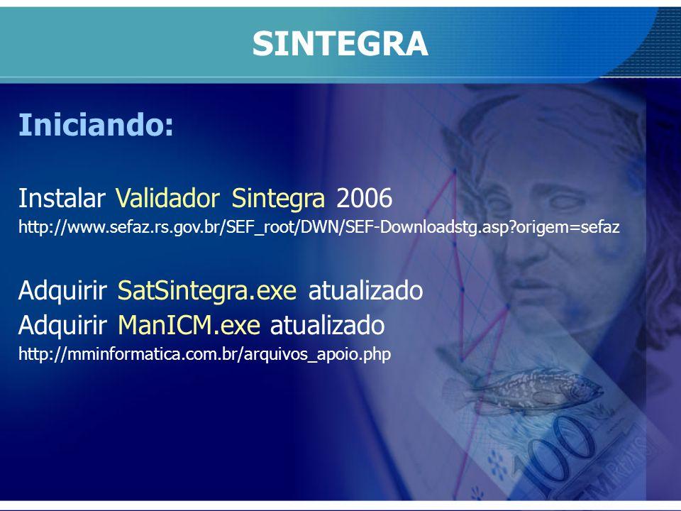 SINTEGRA Iniciando: Instalar Validador Sintegra 2006