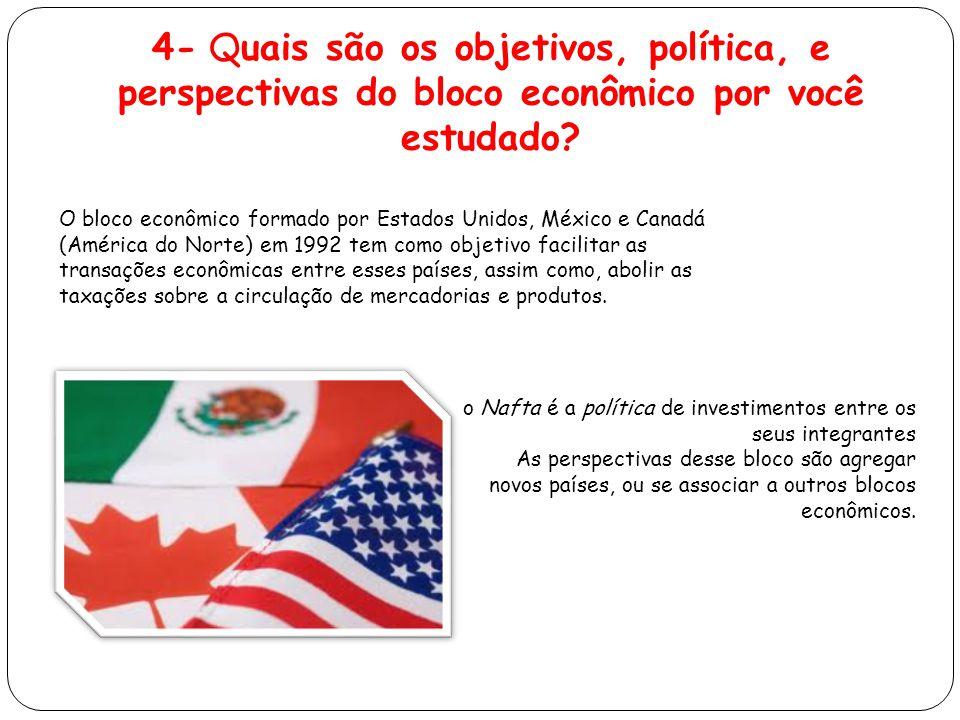 4- Quais são os objetivos, política, e perspectivas do bloco econômico por você estudado