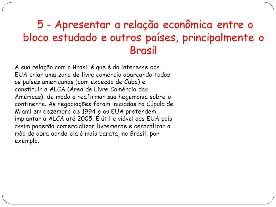 5 - Apresentar a relação econômica entre o bloco estudado e outros países, principalmente o Brasil