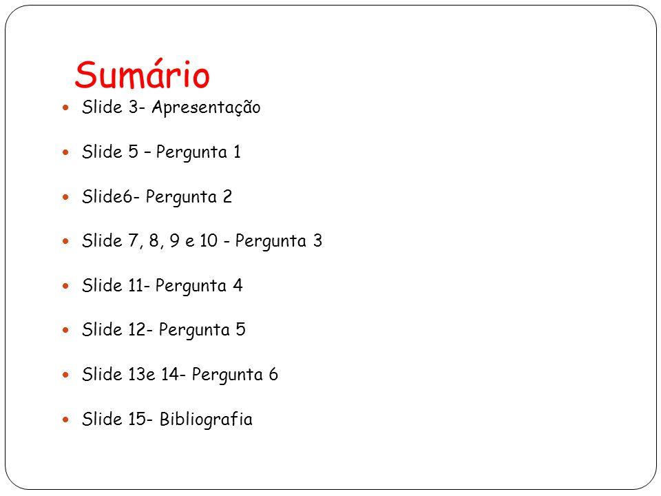 Sumário Slide 3- Apresentação Slide 5 – Pergunta 1 Slide6- Pergunta 2