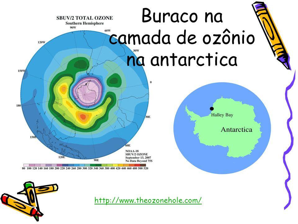 Buraco na camada de ozônio na antarctica