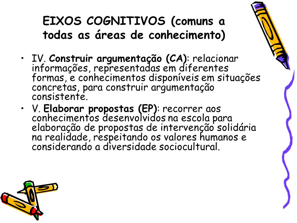 EIXOS COGNITIVOS (comuns a todas as áreas de conhecimento)