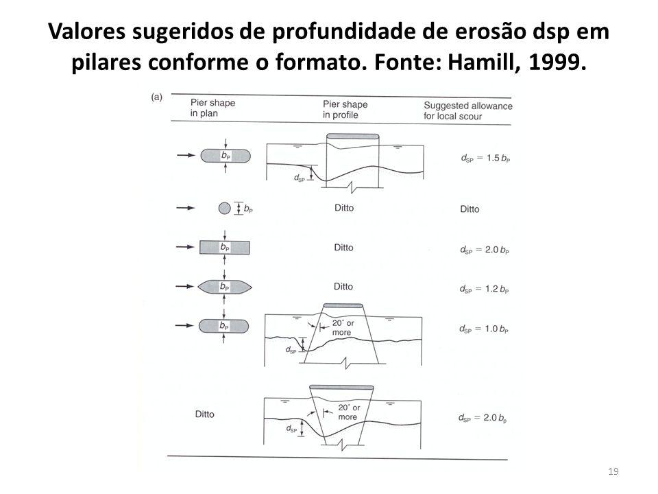 Valores sugeridos de profundidade de erosão dsp em pilares conforme o formato. Fonte: Hamill, 1999.