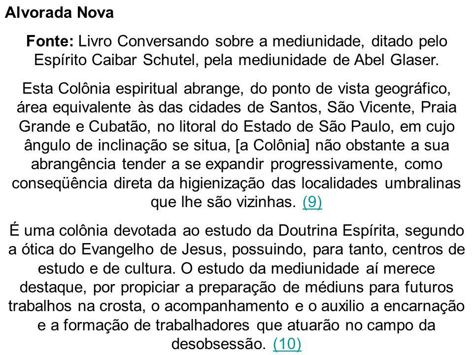 Alvorada Nova Fonte: Livro Conversando sobre a mediunidade, ditado pelo Espírito Caibar Schutel, pela mediunidade de Abel Glaser.