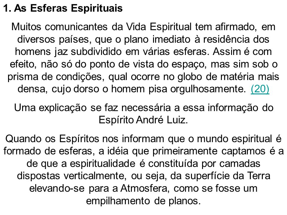 1. As Esferas Espirituais