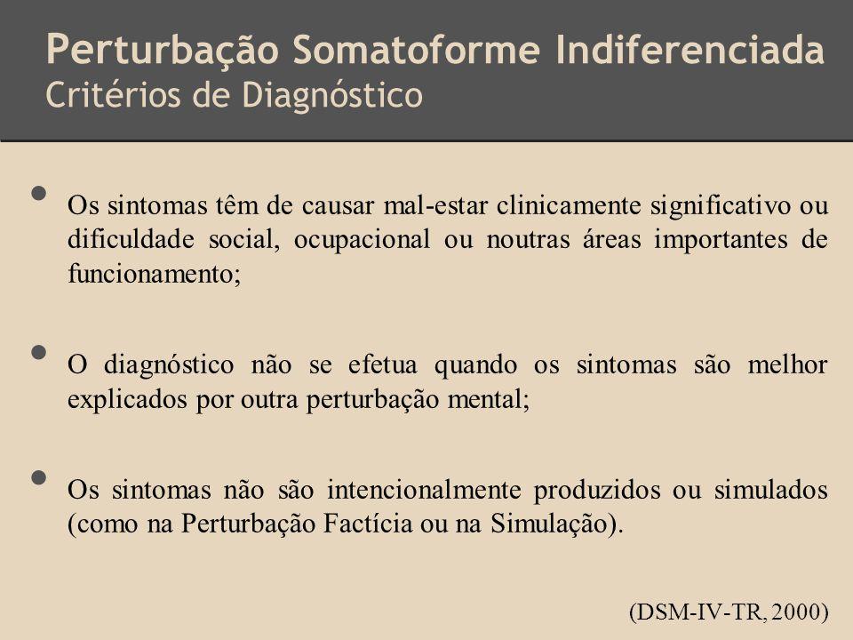 Perturbação Somatoforme Indiferenciada Critérios de Diagnóstico