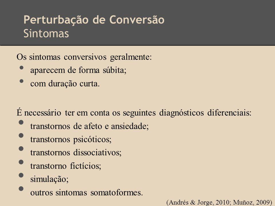 Perturbação de Conversão Sintomas