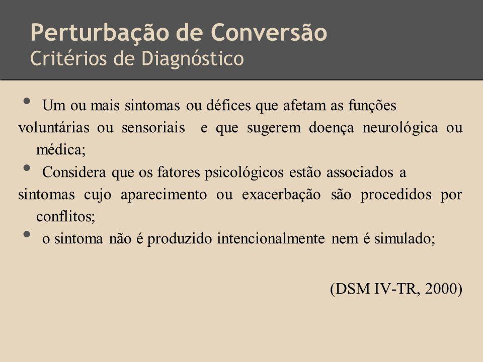 Perturbação de Conversão Critérios de Diagnóstico