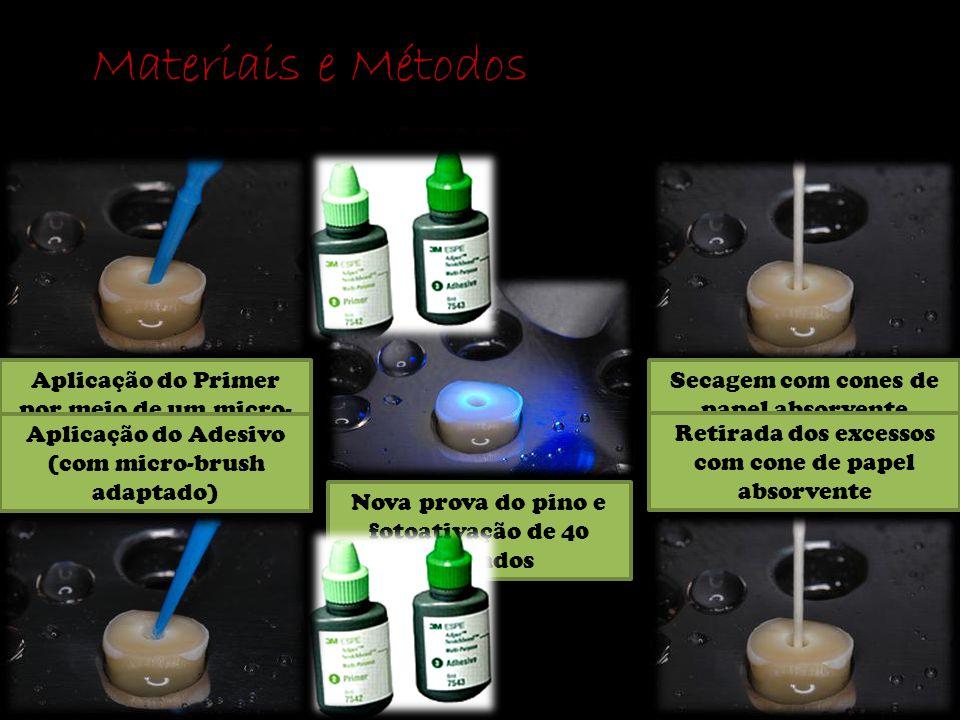 Materiais e Métodos Aplicação do Primer por meio de um micro-brush adaptado para alcançar todo preparo.