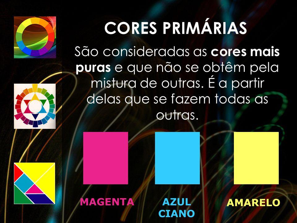 CORES PRIMÁRIAS São consideradas as cores mais puras e que não se obtêm pela mistura de outras. É a partir delas que se fazem todas as outras.