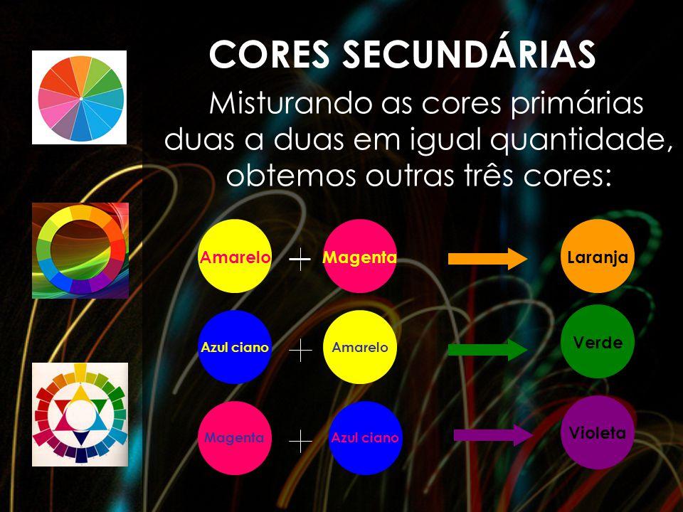CORES SECUNDÁRIAS Misturando as cores primárias duas a duas em igual quantidade, obtemos outras três cores: