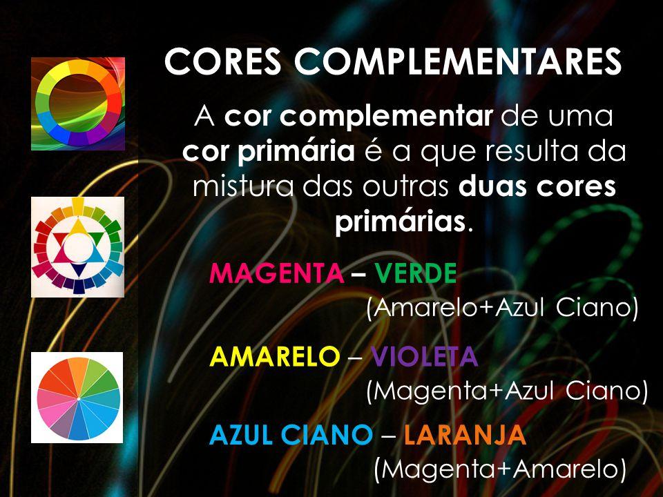 CORES COMPLEMENTARES A cor complementar de uma cor primária é a que resulta da mistura das outras duas cores primárias.