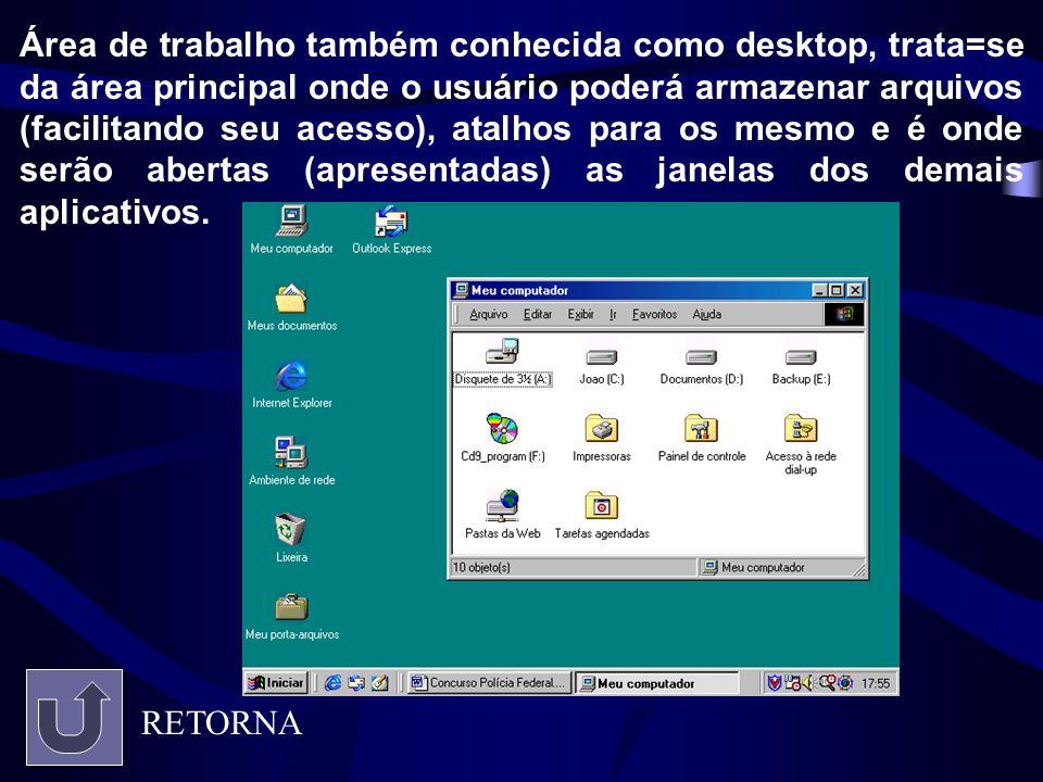 Área de trabalho também conhecida como desktop, trata=se da área principal onde o usuário poderá armazenar arquivos (facilitando seu acesso), atalhos para os mesmo e é onde serão abertas (apresentadas) as janelas dos demais aplicativos.