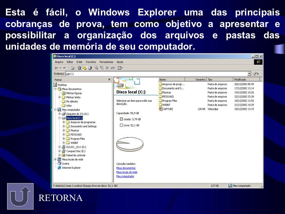 Esta é fácil, o Windows Explorer uma das principais cobranças de prova, tem como objetivo a apresentar e possibilitar a organização dos arquivos e pastas das unidades de memória de seu computador.