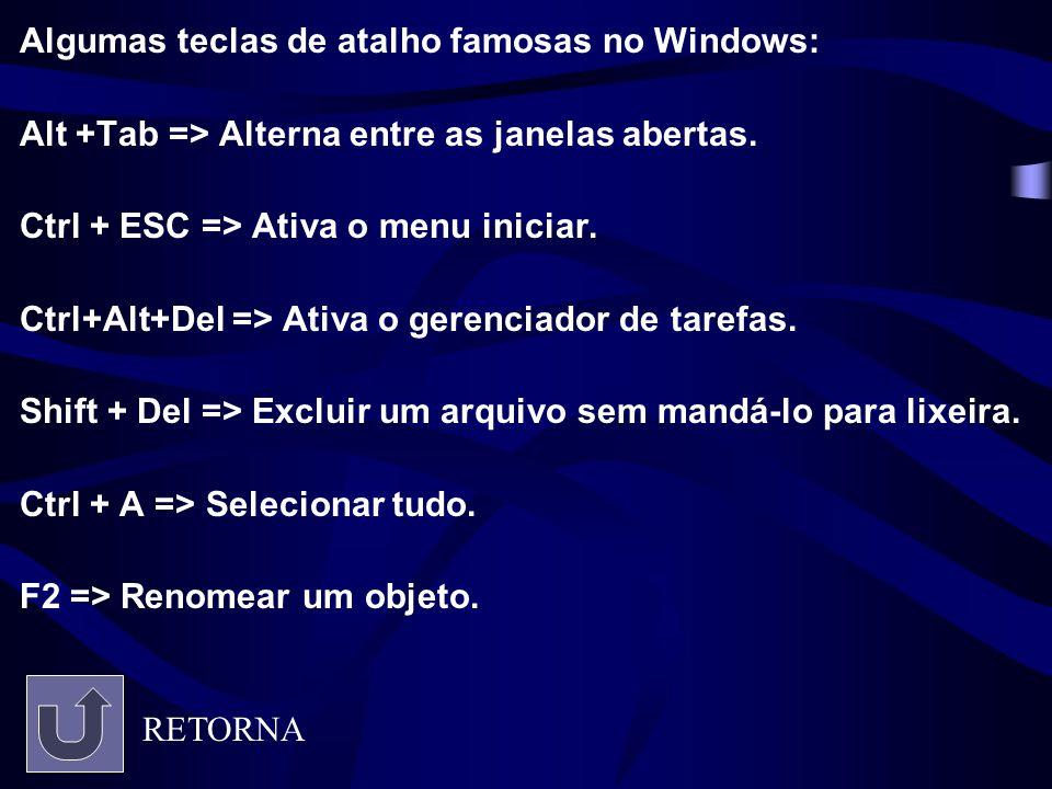 Algumas teclas de atalho famosas no Windows: