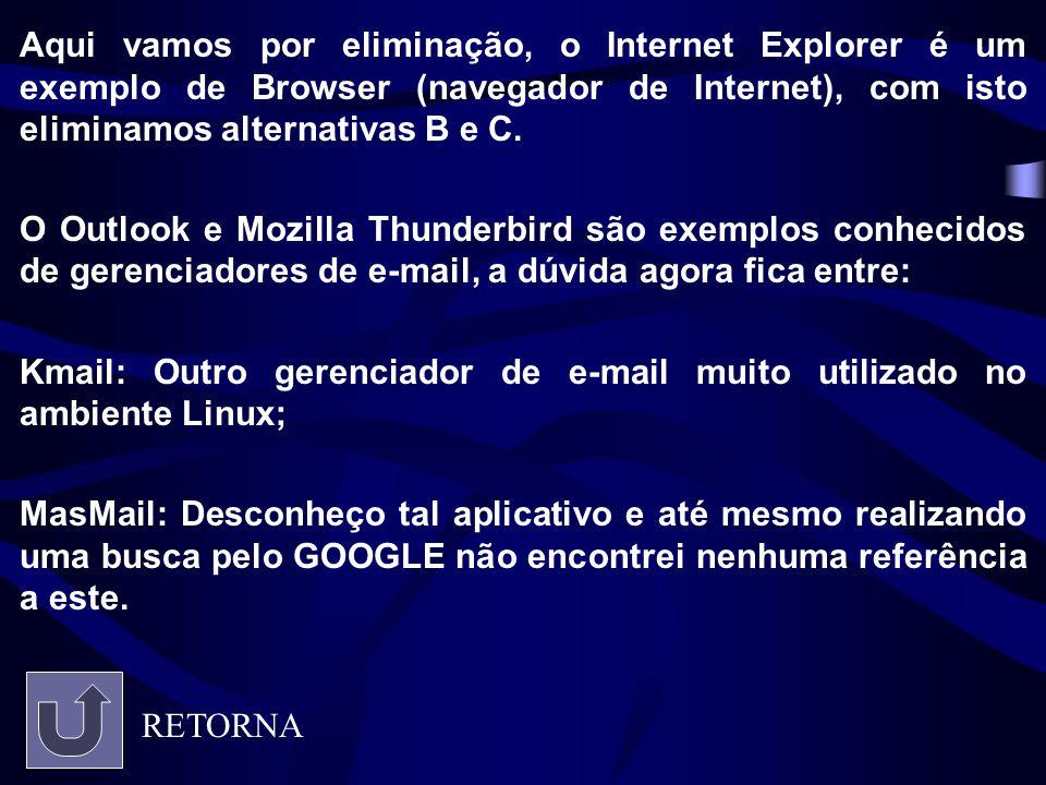 Aqui vamos por eliminação, o Internet Explorer é um exemplo de Browser (navegador de Internet), com isto eliminamos alternativas B e C.