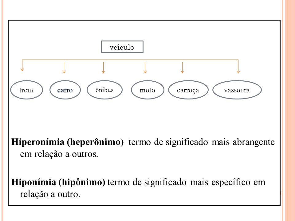 Hiperonímia (heperônimo) termo de significado mais abrangente em relação a outros. Hiponímia (hipônimo) termo de significado mais específico em relação a outro.
