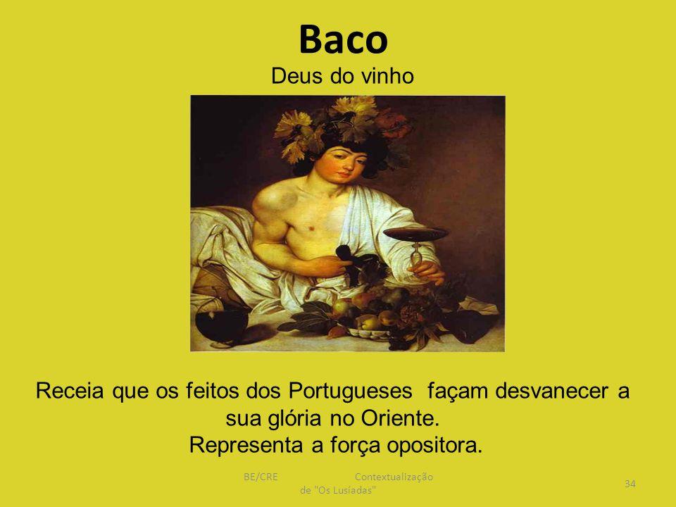 Baco Deus do vinho. Receia que os feitos dos Portugueses façam desvanecer a sua glória no Oriente.