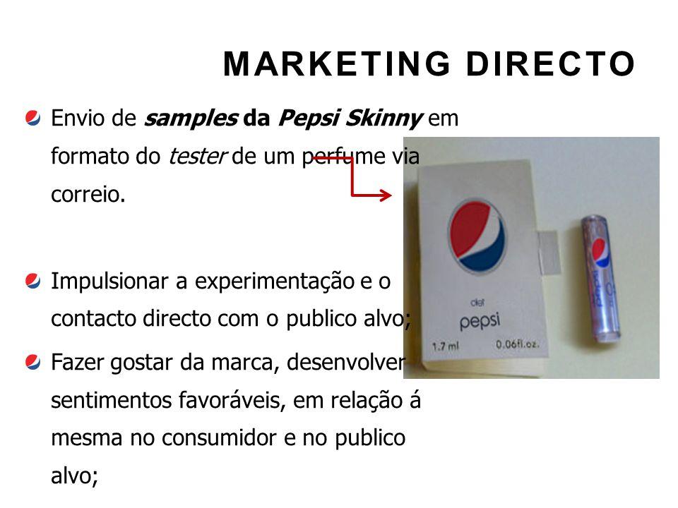 MARKETING DIRECTO Envio de samples da Pepsi Skinny em formato do tester de um perfume via correio.