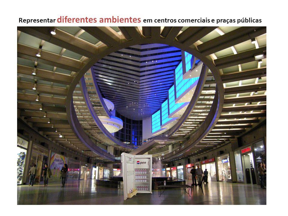 Representar diferentes ambientes em centros comerciais e praças públicas