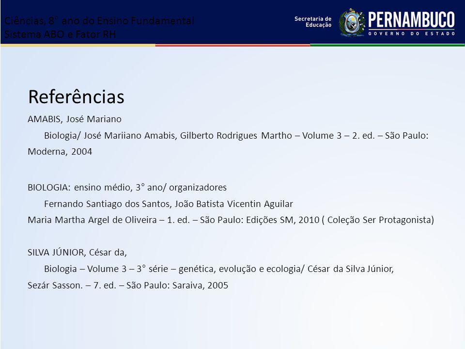 Referências Ciências, 8° ano do Ensino Fundamental