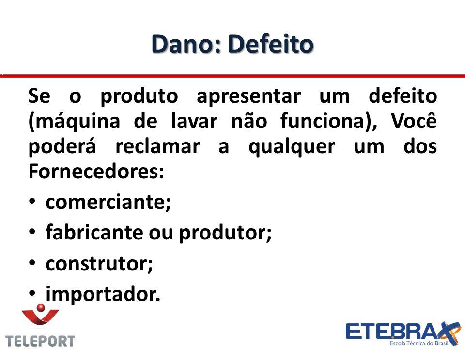 Dano: Defeito Se o produto apresentar um defeito (máquina de lavar não funciona), Você poderá reclamar a qualquer um dos Fornecedores: