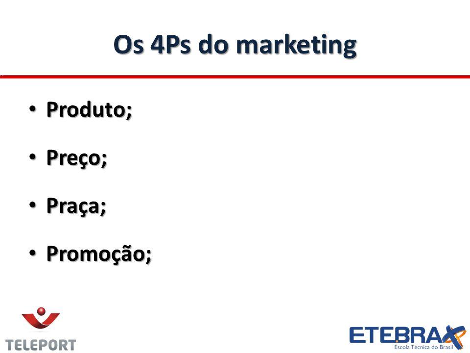 Os 4Ps do marketing Produto; Preço; Praça; Promoção;