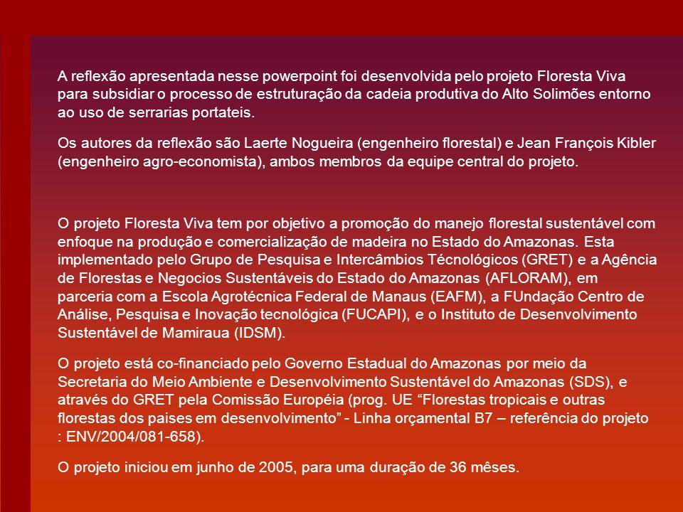 A reflexão apresentada nesse powerpoint foi desenvolvida pelo projeto Floresta Viva para subsidiar o processo de estruturação da cadeia produtiva do Alto Solimões entorno ao uso de serrarias portateis.
