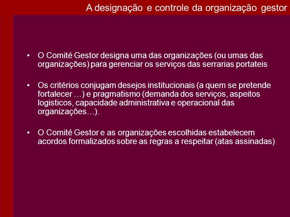 A designação e controle da organização gestor