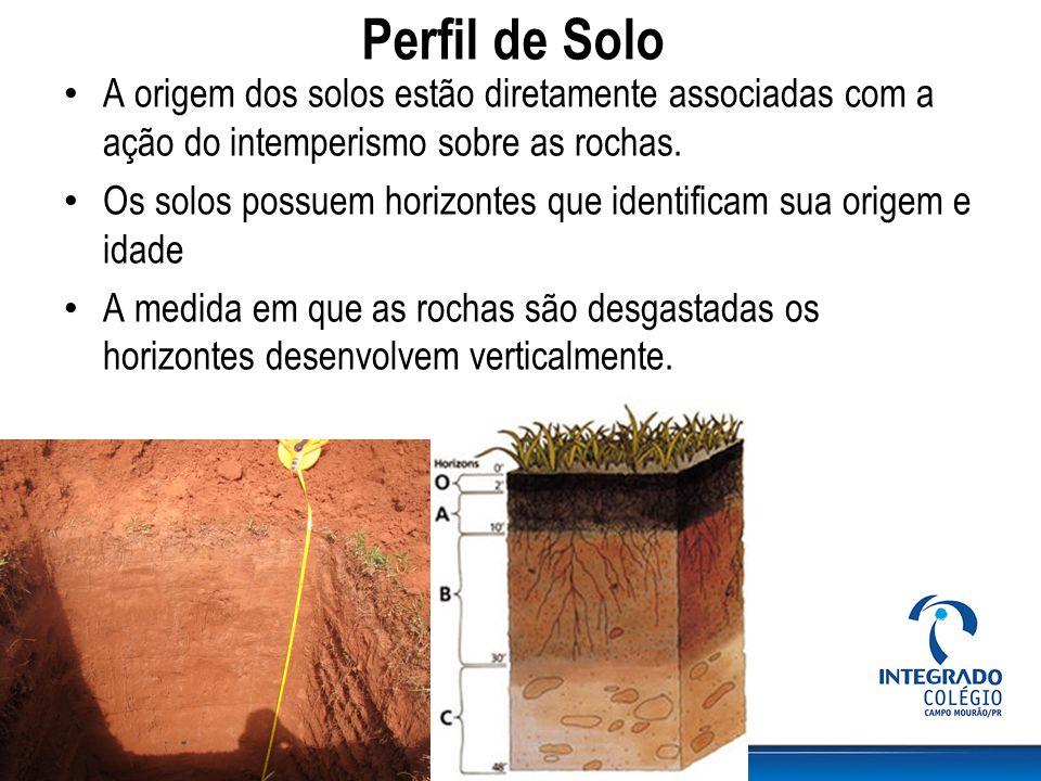 Perfil de Solo A origem dos solos estão diretamente associadas com a ação do intemperismo sobre as rochas.