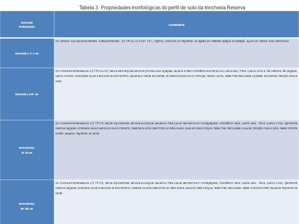 Tabela 3: Propriedades morfológicas do perfil de solo da trincheira Reserva