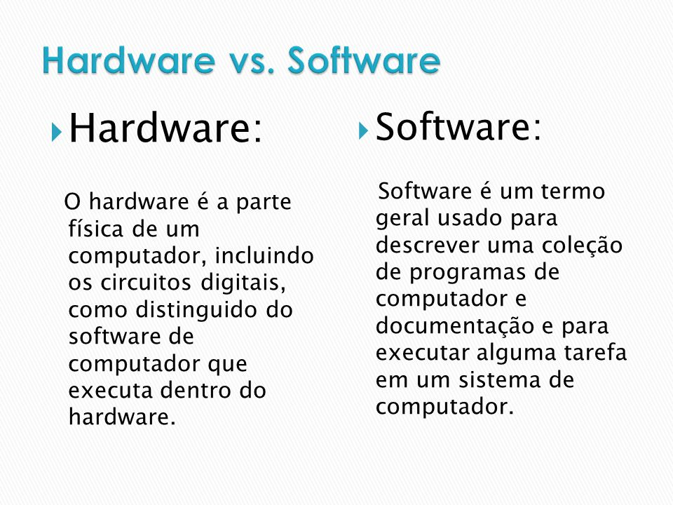 Hardware: Hardware vs. Software Software:
