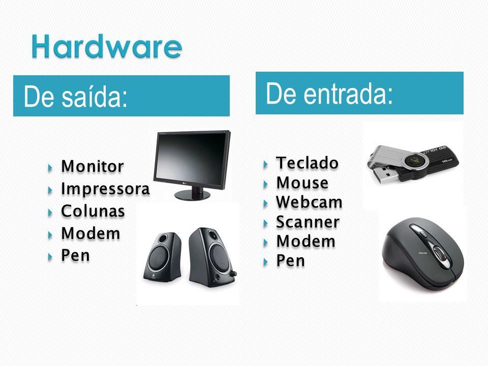 Hardware De entrada: De saída: Teclado Monitor Mouse Impressora Webcam
