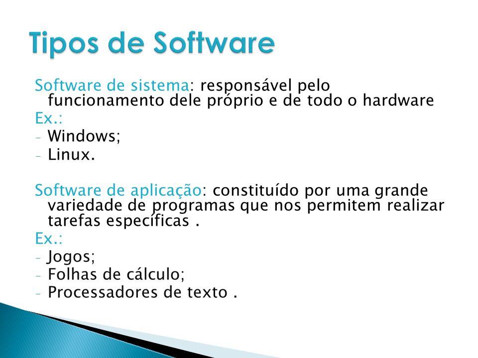 Tipos de Software Software de sistema: responsável pelo funcionamento dele próprio e de todo o hardware.