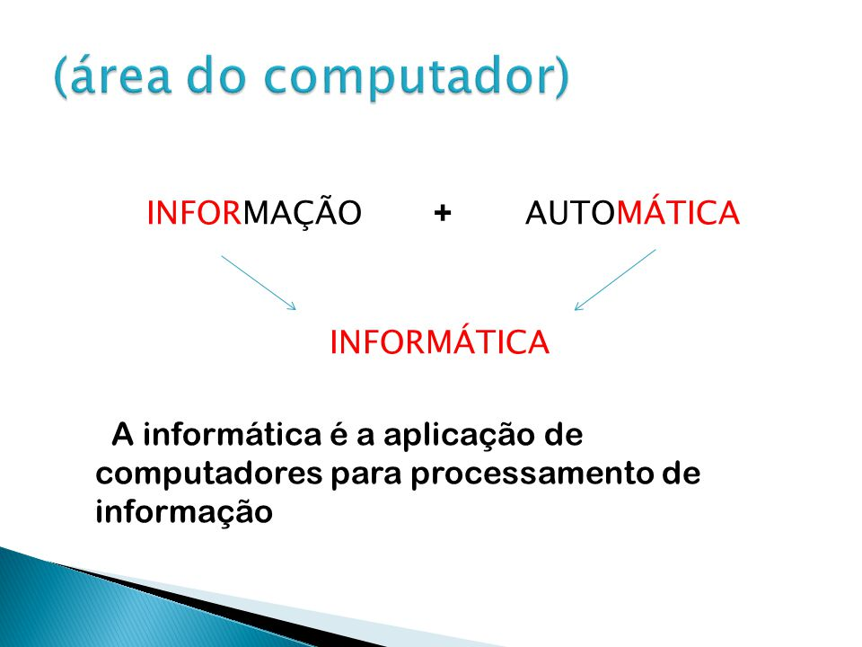 (área do computador) INFORMAÇÃO + AUTOMÁTICA INFORMÁTICA