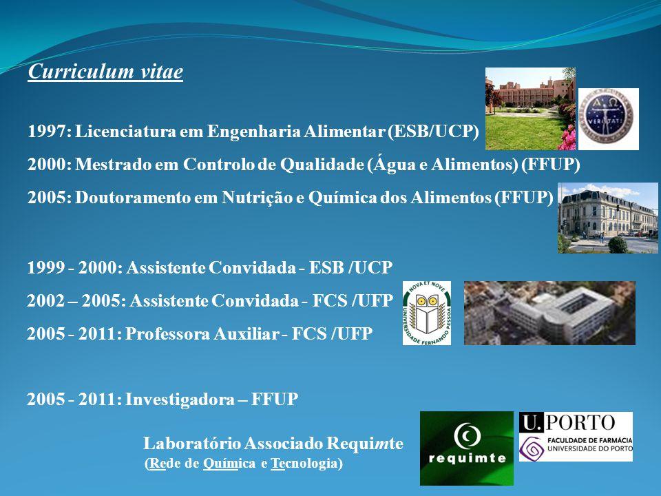 Curriculum vitae 1997: Licenciatura em Engenharia Alimentar (ESB/UCP)