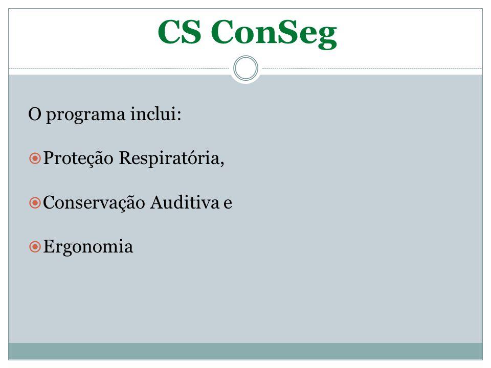 CS ConSeg O programa inclui: Proteção Respiratória,